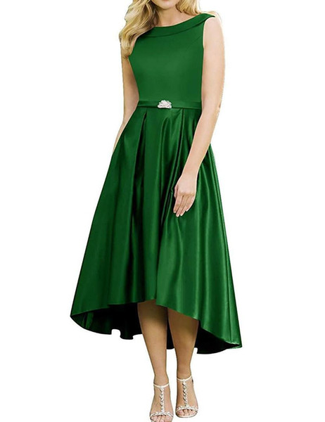 Unique High/Low Style Scoop Neck Satin Dress A-line Women Prom Gown with Beads Custom Made
