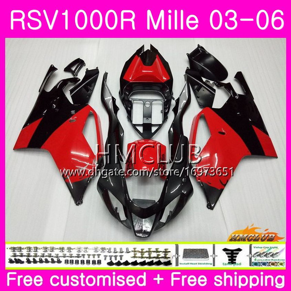 Body For Aprilia RSV1000R Mille RSV1000 R RR 03 04 05 06 Bodywork 38HM.8 RSV1000RR RSV 1000 2003 2004 2005 2006 03 06 Fairing Glossy red