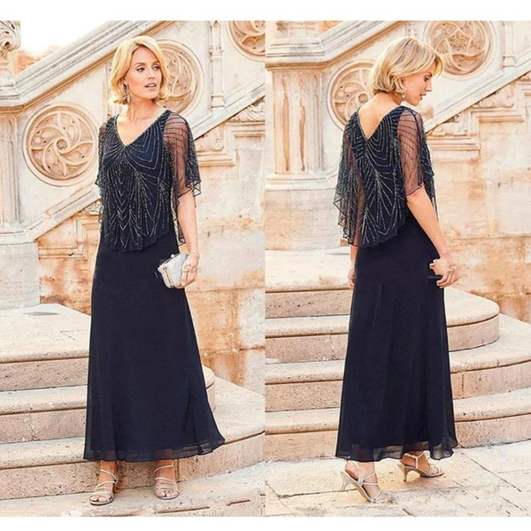 2019 Navy Blue Mother Of The Bride Dresses V Neck Short Cap Sleeves Tea Length Chiffon Mothers Formal Wedding Gowns with Beading