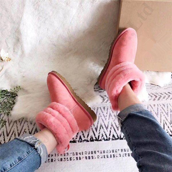 Marca UG: Australia Fur Snow Boots Classic Suede Bocca di pecora foderato in pile Scarpe Stivali caviglia donne inverno all'aperto Boot C111908