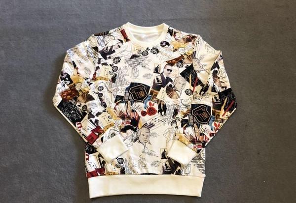 2019 Luxury Europe Italy Fashion mens brand designer Sweatshirts long Sleeve High Quality Full body print F Letter hoodie New Mens Clothing