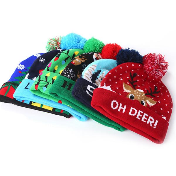 Cappello a maglia a LED Illuminazione a led Pom Beanie Bambini Adulto Fiocco di neve Natale Cappelli all'uncinetto Luci Tappo a sfera lavorato a maglia Natale Hollow LJJA2841