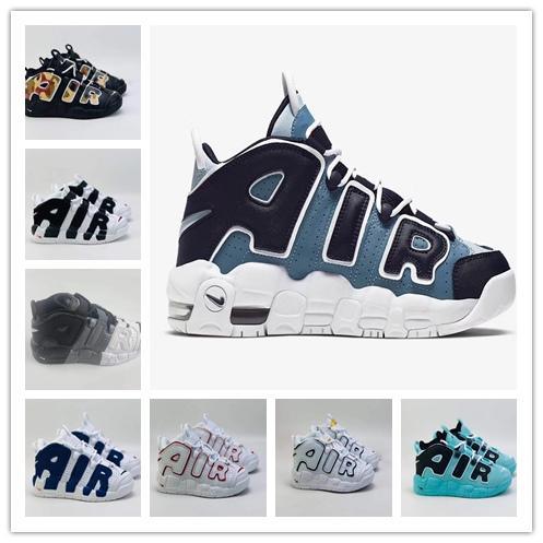 Nike Pippen 2019 enfants Chaussures de basket Air 96 plus fines rayures QS olympique noir 3M Airs Scottie Pippen Uptempo Garçon Fille enfants Chaussures enfants en bas âge 11C-3Y