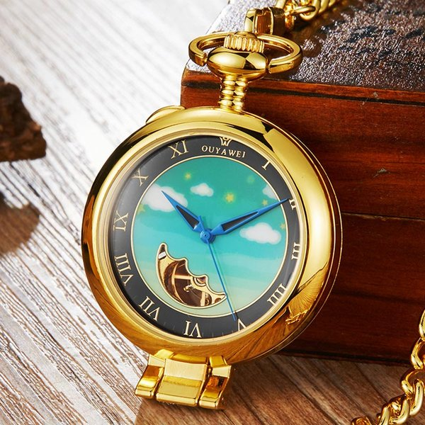 Luxury Silver Gold Retro Mechanical Pocket Watch Men Women Pendant With FOB Chain Hollow Moon Steampunk Hand-wind Pocket Watches
