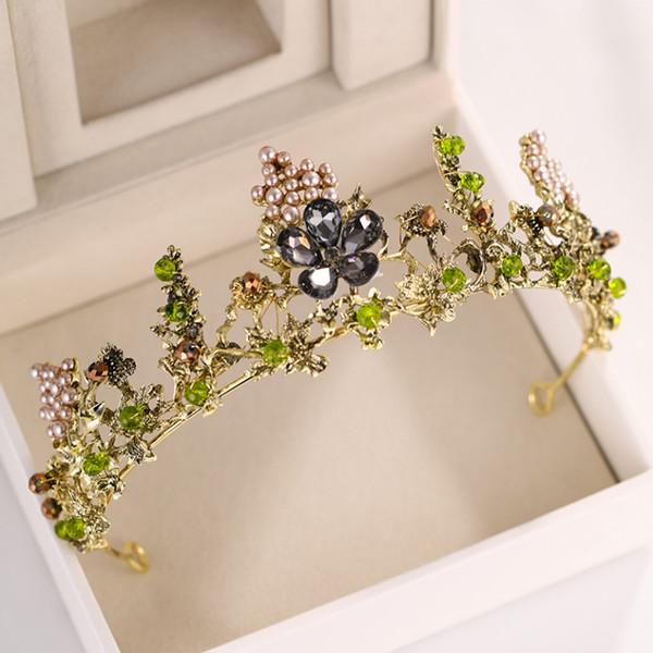 Altın İnci Çiçek Kristal Düğün Taç Gelin Tiaras Ve Taçlar Kraliçe Diadem Yarışması Parti Taç Gelin Saç Takı Aksesuar
