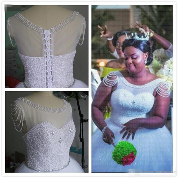 Amazing Pearls African A-Line Wedding Dress Plus Size elegant floor length Bridal Gowns custom made cheap free shipping Vestido De Novia