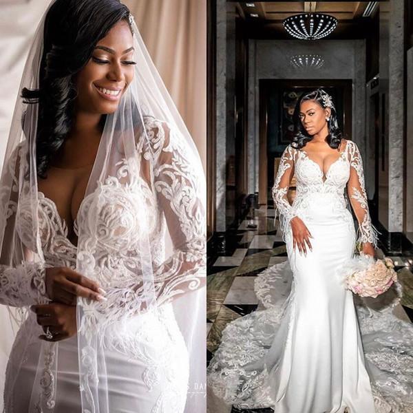 Sexy Moderno Decote Em V Sereia Vestidos de Casamento Com Trem Destacável Árabe Africano Rendas Apliques de Noiva Vestidos de Verão Vestido Formal