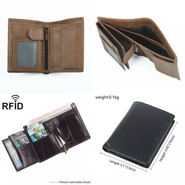 Monederos de cuero de vaca plegables unisex Mini billetera de cuero de vaca genuina Ranura para tarjeta de bloqueo RFID Dinero Bolsas de monedas de bolsillo Regalo comercial