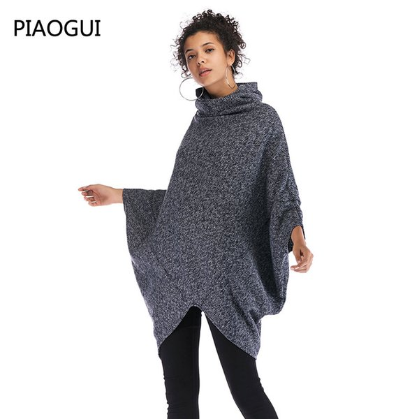 2019 spring women sweater ponchoes capes solid turtleneck criss-cross hem batwing sleeve cloak casual knit sweaters plus size