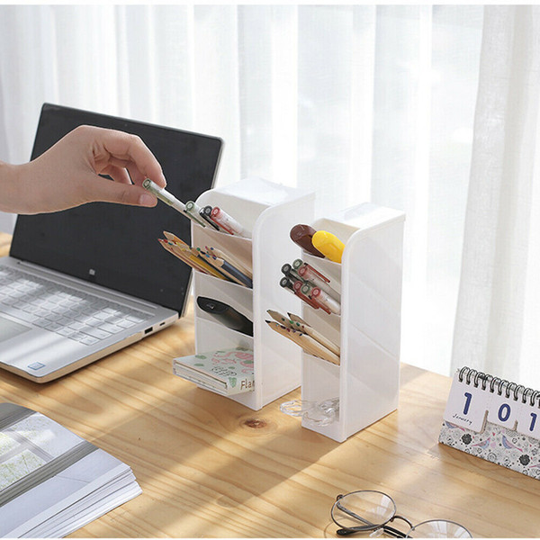 Nueva Creative 4 Grid Sub-grid Plastic Plastic Organizer Desk Desktop Office Pen Pencil Holder Bandeja de almacenamiento de maquillaje
