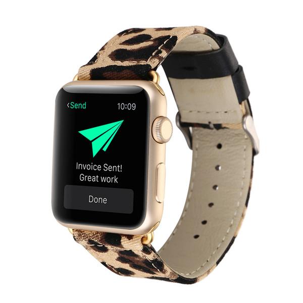 Luxury Leopard Printing cinturino in vera pelle per Apple Watch 4 Band Bracciale donna orologio da polso per iwatch 3 Strap 38/40/42 / 44mm