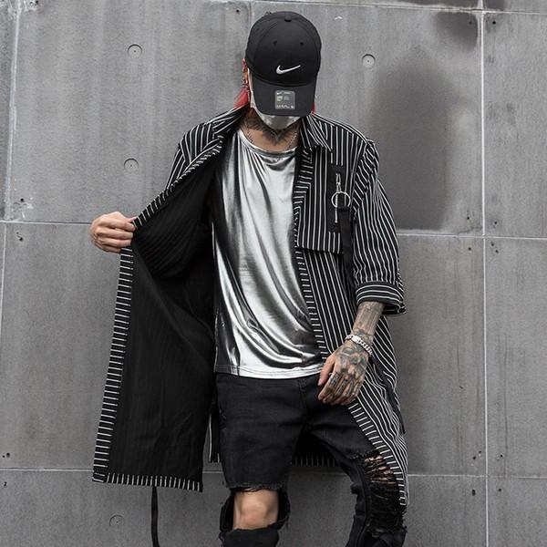 Hommes Casual Longue Chemise À Rayures Cardigan Manteau Mâle Streetwear Hip Hop Punk Gothique À Manches Demi Chemise Chanteur Vêtements De Scène