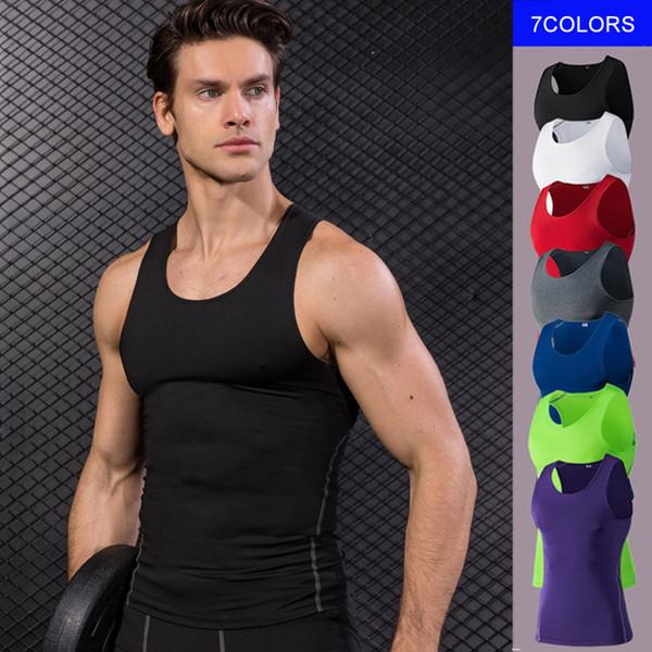 Nuevo Fitness Gym Bodybuild Tank Top Sport Jersey Compresión Camisa sin mangas Chaleco para correr Secado rápido Blanco Gym Yoga Camisa Hombres