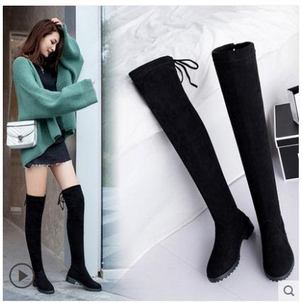 fashion Spring Autumn casual Flat boots princess sweet women boots stylish flat flock shoes fashion Knee-High boots