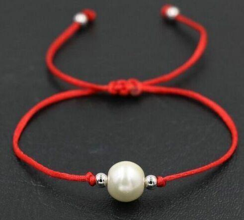 10pcs/lot White Pearl beads Black Red Thread Rope String Briad Lucky Bracelet Gift