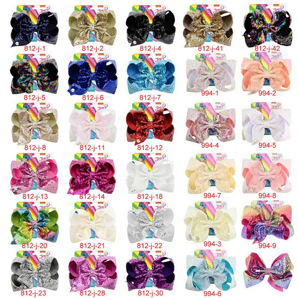 best selling 8 Inch Jojo Siwa Hair Bows Jojo Bows With Clip For Baby Children Large Sequin Bow Unicorn hair Bows