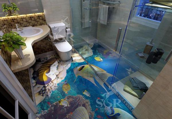 PVC Kendinden Yapışkanlı Su Geçirmez 3D Zemin ResimleriMarine dünya tropikal balık Fotoğraf Duvar Kağıdı Sticker Banyo Mutfak Ev Dekor Papel De Parede