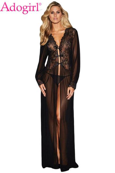 Adogirl Sheer manches longues Robe en dentelle avec Thong Femmes Sexy Valentine Lingerie Set longue chemise de nuit pas cher érotique Robe de nuit