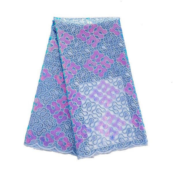 New arrival 5yards/lot powder blue organgza sequin lace fabric for african wedding party dresses