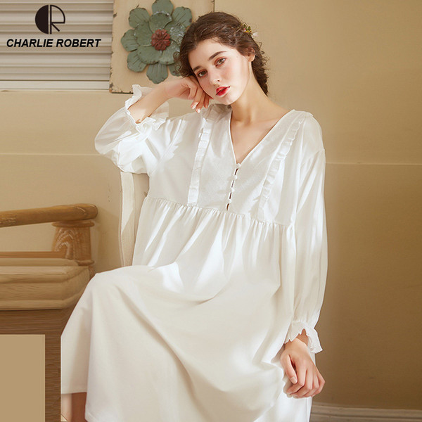Noble Sleepwear Cotton Dress Gown Elegant Nightgown Vintage Long Dress Long Sleeve White Night Dress Home Clothes For Women Y19070103