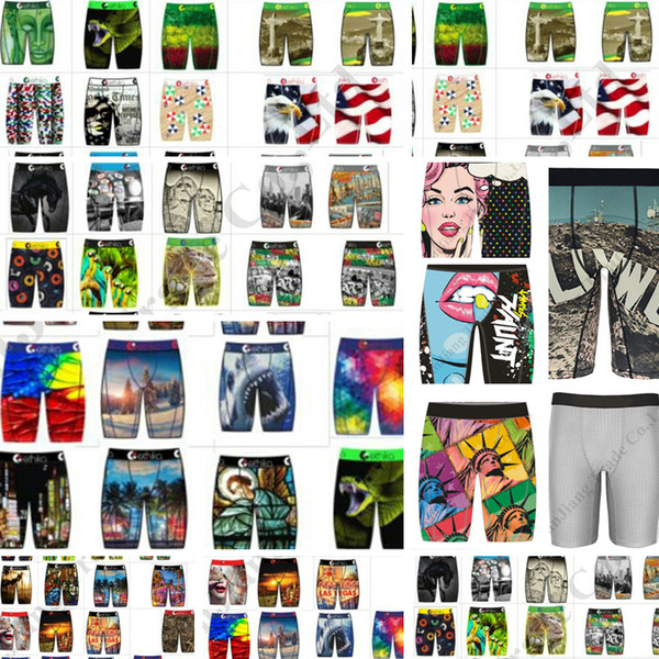 top popular Quick Dry Men Panties Underwear Long Boxer Briefs Skateboard Street Fashion Hip-hop Sports Shorts Boxer Pants C111909 2021