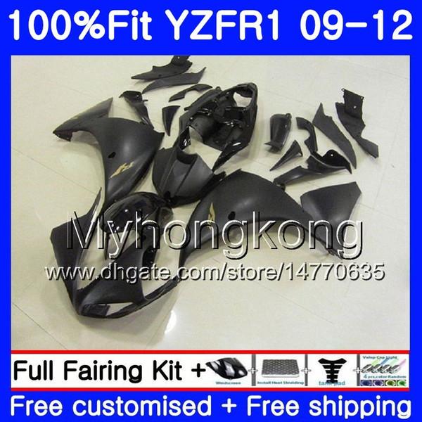 Inyección para YAMAHA YZF 1000 R 1 YZF-1000 YZFR1 09 10 11 12 241HM.10 YZF R1 YZF1000 YZF-R1 Negro plano brillante 2009 2010 2011 2012 Fairing Kit