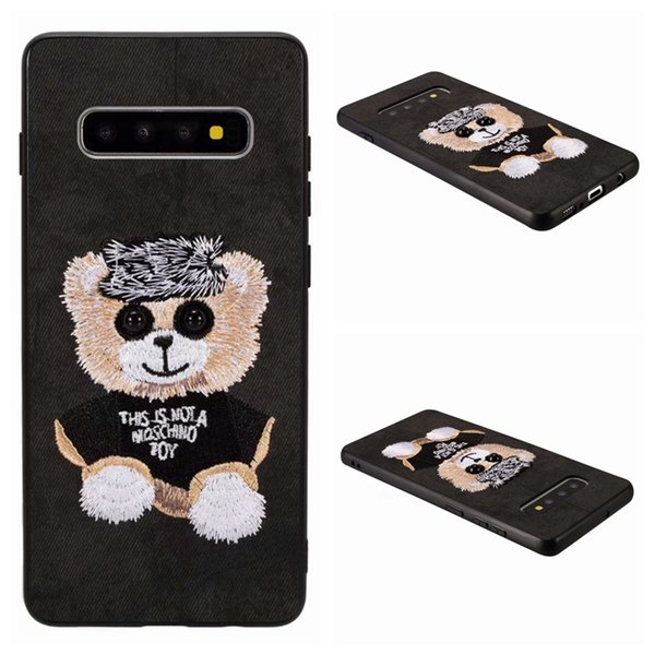 3D Embroidery Bear Dog PC+TPU Case For Iphone XS MAX XR X 8 7 6 Plus Galaxy S10 S10e S9 S8 Teddy Cartoon Animal Cute Lovely Fashion Cover