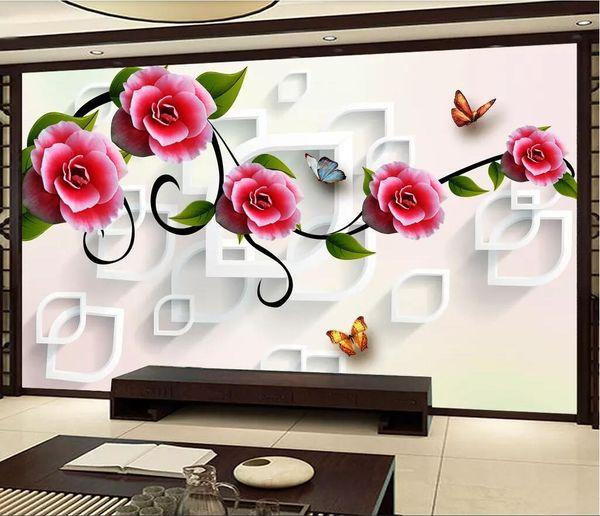 3d Room Wallpaper Custom Photo Non Woven Murals Rose Vine Flower Tv Background Wall Material Wallpaper For Walls 3 D Computer Desktop Wallpaper
