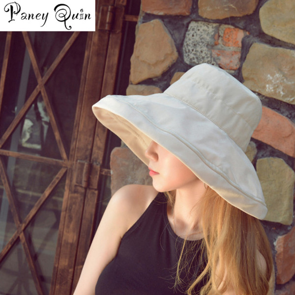 Sommer Art und Weise Frauen-Mädchen Sonnenhut CAPS Faltbare Baumwolle Damen Breite Strohhut Außen Freizeit-Strand-Hüte Sonnenschutz