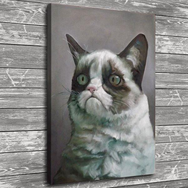 Grumpy Cat White, decoración para el hogar, pintura de arte moderno impresa en lienzo (sin marco / enmarcada)