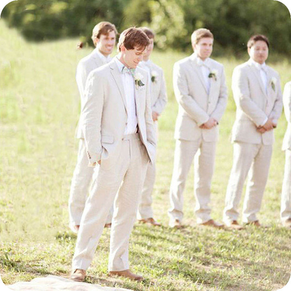 Tailored Made Summer Linen Ivory Men Suits for Wedding Casual Groom Tuxedos Smart Groomsmen Blazer 2Piece Costume Homme Bridegroom Jacket