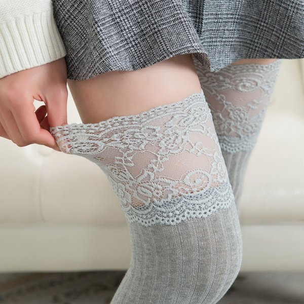 lace stockings women thigh high over knee long stocking korean japanese lolita kawaii girls cotton stocking