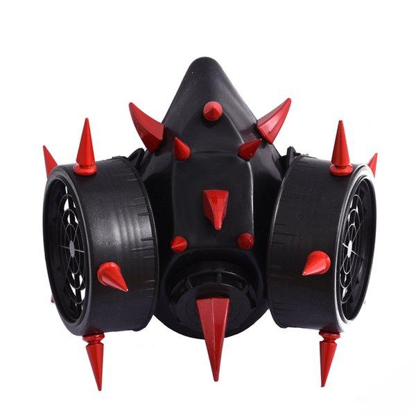 Nique Retro Steampunk Red Devil Horns Remaches Máscara de gas Respirador Cyber Goth Cosplay Máscaras Accesorios de fiesta de Halloween Único Retro ...