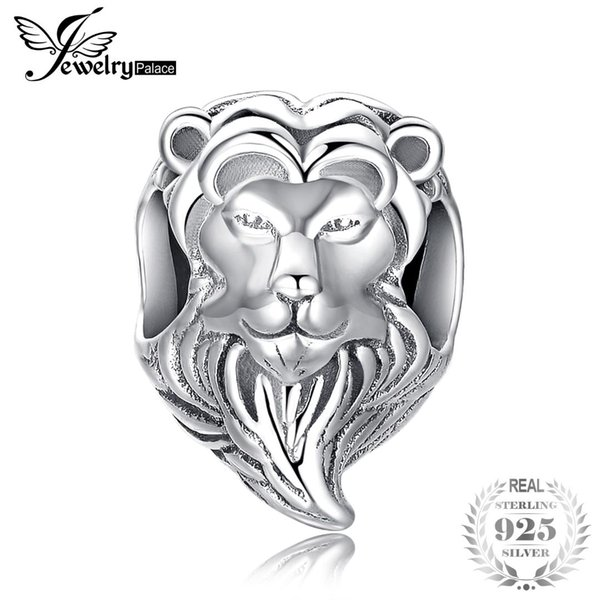 JewelryPalace Brave Heart 925 Sterling Silver Lion Head Charm Beads Fit Bracelets For Women As Beautiful Gifts New Hot Sale