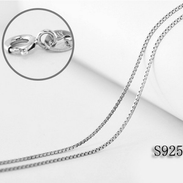 0.8MM Width Authentic Italian 925 Silver Box Chain Necklace 16-20 inch Length Fine Sterling Silver Necklace
