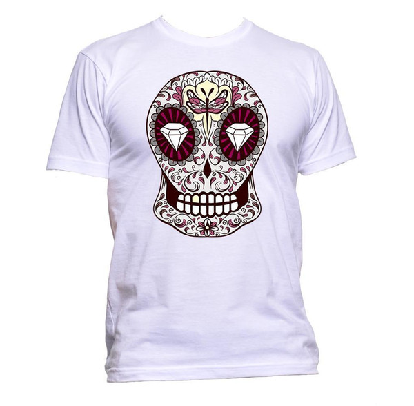 Sugar Skull Grey Coloured With Diamond Design T-Shirt Mens Womens Unisex Fashion colour jersey Print t shirt