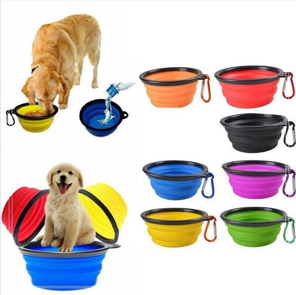 Gezi Katlanır Pet Köpek Kedi Besleme Bowl Su Bulaşık Besleyici Silikon Katlanabilir 9 Renkler Ücretsiz Kargo DHL W950921 seç için