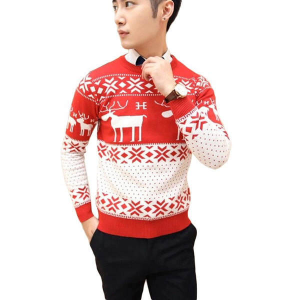 Envío gratuito suéter suéter de invierno de los hombres suéter de la Navidad con los ciervos Casual Delgado Tire Homme Navidad Feo