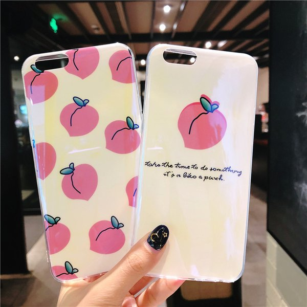 3D Housing Cute Back Cover Soft TPU Silicone Phone Shell Protective Kawaii Peach Case for IPhone X XS 6 6S 7 8 Plus Cases Blu-Ray