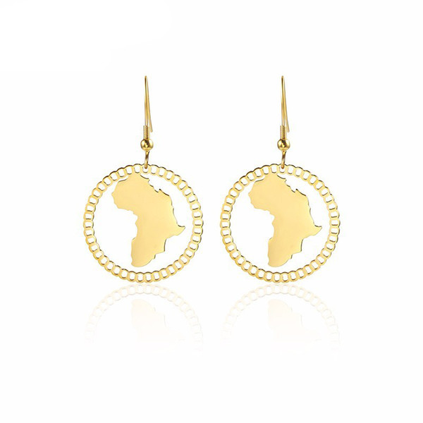 Gold Map of Africa Earrings Jewelry Hollow Afrocentric Continent Women Drop Earrings In Stainless Steel Nickel & Lead Free