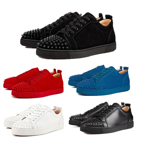 Zapatillas de deporte de diseñador 2019 Parte inferior inferior roja Top-Junior Picos pequeños Pisos Zapatos Hombres y mujeres Zapatillas de cuero Zapatos ocasionales