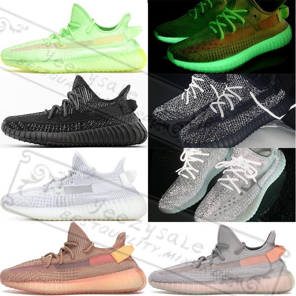 Adidas Yeezy Boost 350 V2 Gid Glow Gerçek Formu Kanye West 3 M Siyah Yansıtıcı Statik Kil Zebra Krem Beyaz Beluga 2.0 Bred Koşu Ayakkabı Tasarımcısı Sneakers 5-13