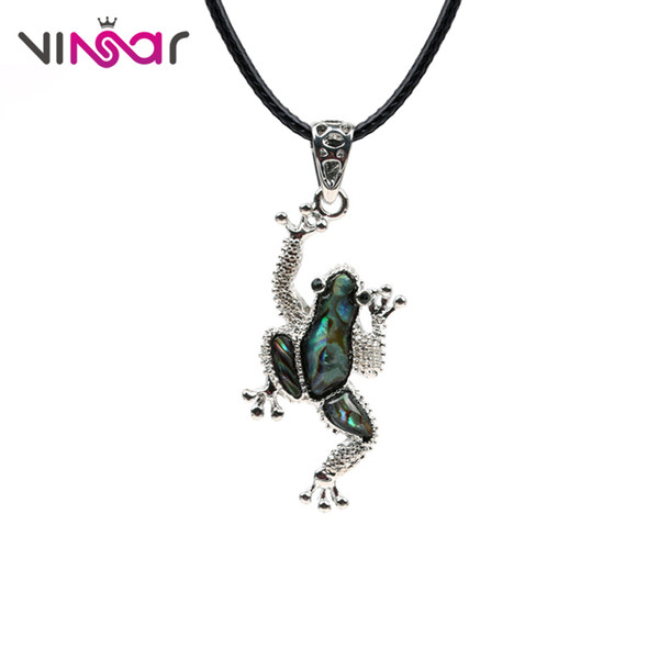 VINSAR Alloy Frog Natural Abalone Shell Necklace Women Fashion Cute Chocker Necklace Men Hip Hop Jewelry Suspension Colier XLK09
