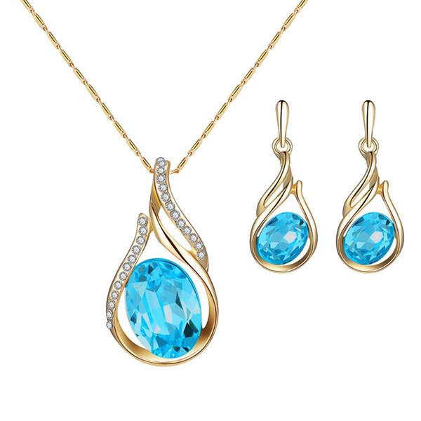 Mujeres Rhinestone Oval Faux Quartz Colgante Ear Stud Pendientes Collar Conjunto de joyas compromiso de fiesta Nuevo