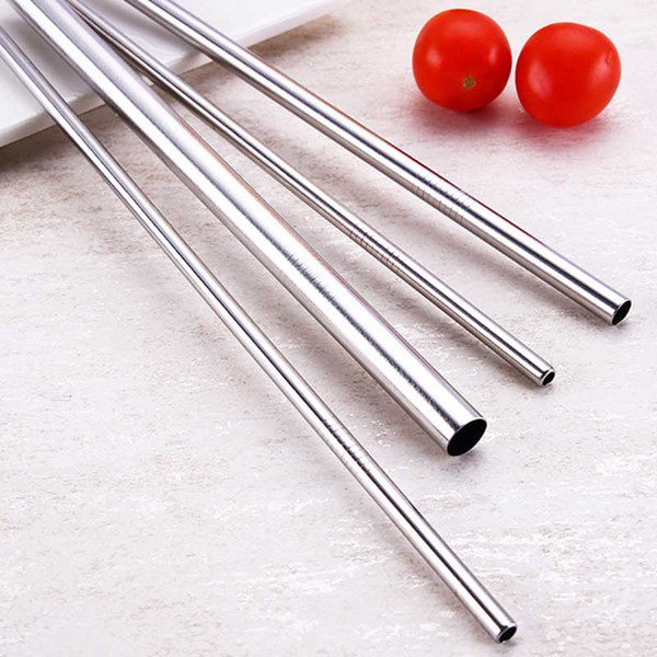 """best selling Durable Stainless Steel 8.5"""" 10.5"""" Straight bend Drinking Straw dia 6mm 8mm 12mm Straws Metal Bar Family kitchen DHL"""