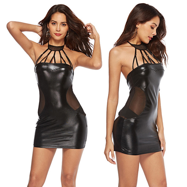 Large Size Party Dresses for Women Sexy Halter Faux Leather Night Club Bodycon Dress Plus Size Tight PVC Clubwear