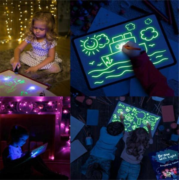 A3 A4 A5 LED lumineux Planche à dessin Graffiti Doodle dessin tablette magique Dessiner avec la lumière-Fun Pen fluorescent jouet éducatif B1