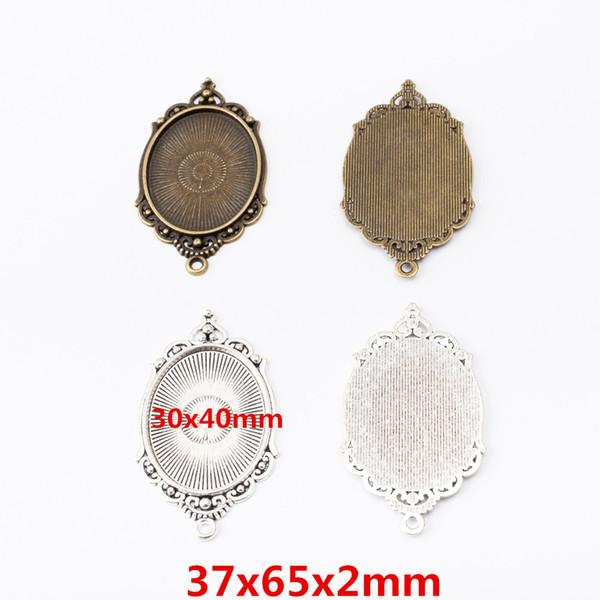 vente en gros 11pcs métal vintage charmes en alliage de zinc 30 * 40mm Pendentif Cadre ovale photo pour les résultats de 6293 bijoux diy