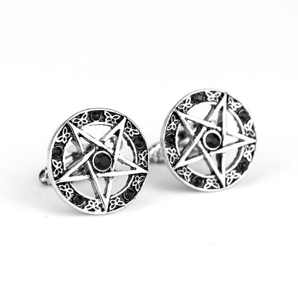 Sıcak Satış Supernatural Vintage Pentagramı Pentagram Yıldız Kalaylı Kristal Yıldız Kol Düğmeleri Klasik Marka Manşet Düğmeleri Kol Düğmeleri