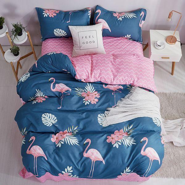 Nordic Flamingo Children Duvet Cover Set Solid Color Bed Sheet Pillow Case 100% Polyester Soft Duvet Cover Bedding Sets